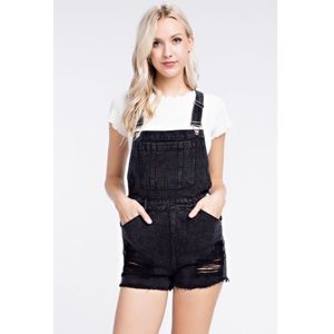 Honey Pinch Black Distressed Overalls